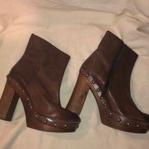 Zara Leather  Platform Booties